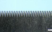 Laser-Feinschneiden: Feine Kammstruktur in dünner Edelstahlfolie