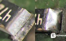 Schadhafte Lötstelle vor und nach manuellem Rework bei TEPROSA